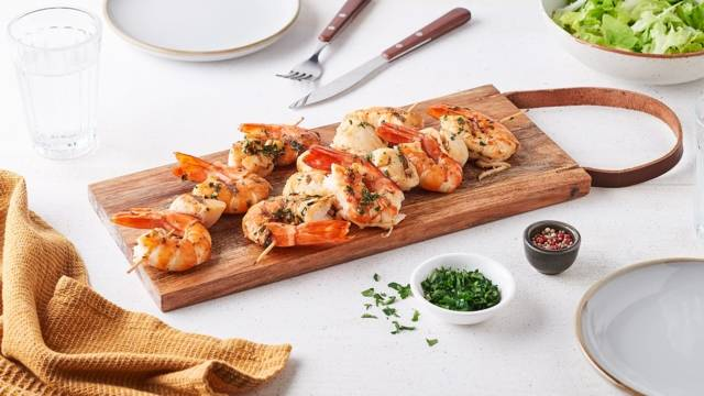 Brochettes de fruits de mer à la coriandre