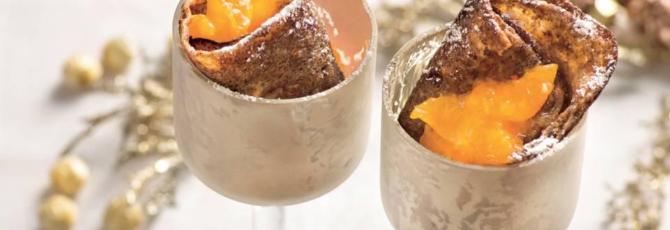 Mini crêpes au chocolat fourrées à la mandarine