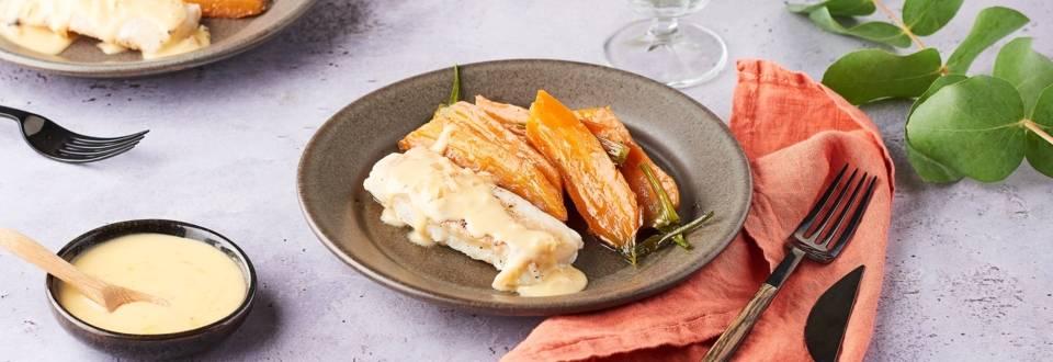 Pavé de cabillaud et carottes glacées