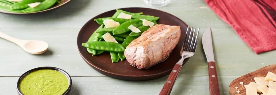 Filet mignon sauce à l'origan et pois gourmands
