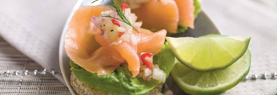 Bouchées de saumon arrosées de jus de melon