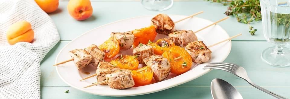 Brochettes de filet mignon et abricots