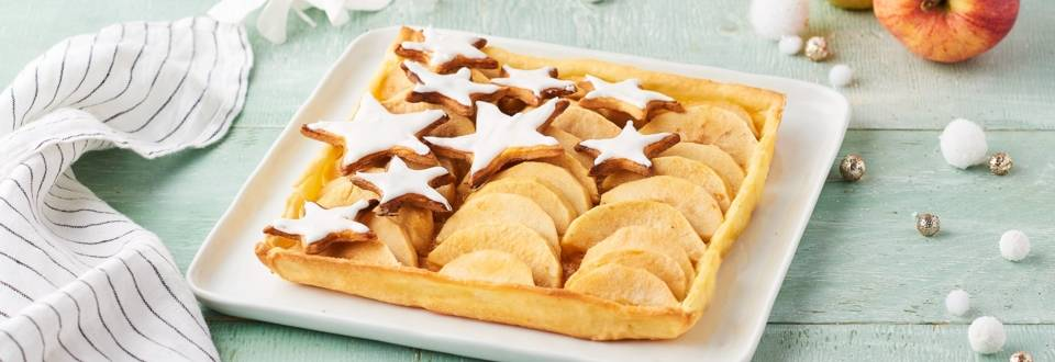Tarte recouverte d'étoiles aux pommes et poires