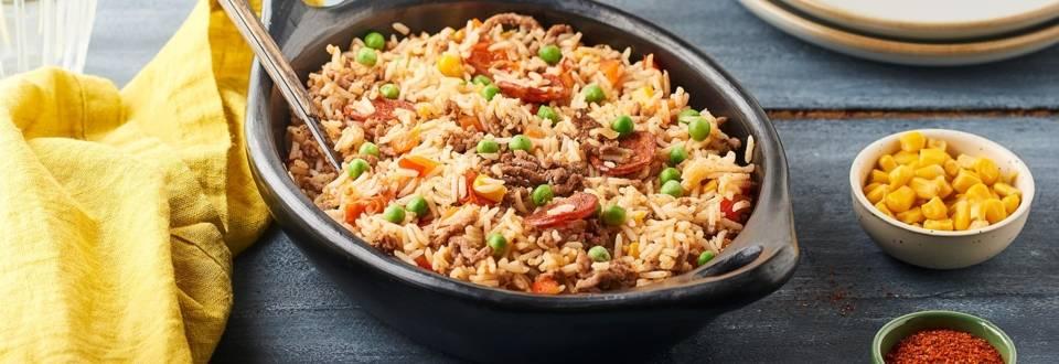 Mexican rice à la viande hachée et chorizo