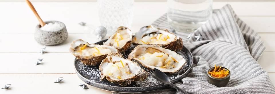 Huîtres au gingembre et granité orange