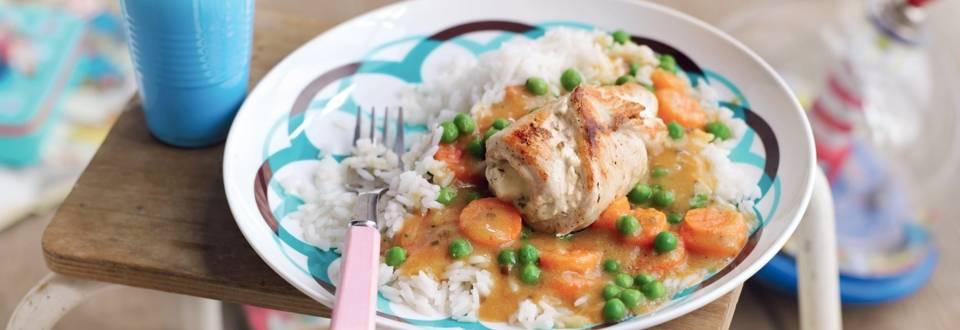 Roulés de dinde et riz aux légumes