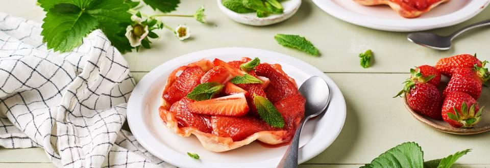 Mini tartes tatins fraise et menthe