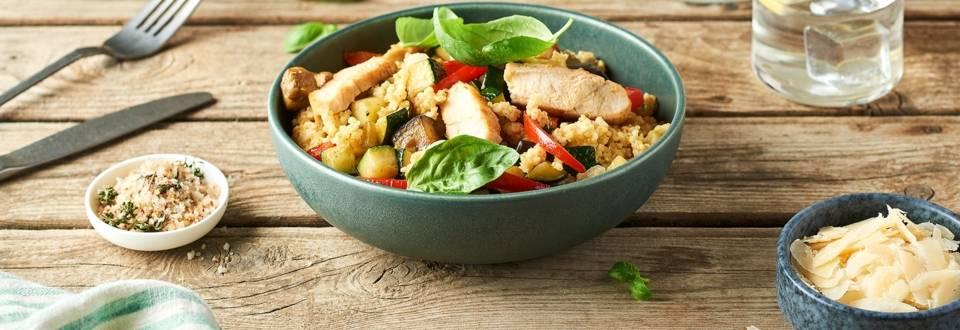 Risotto de quinoa, poulet et légumes du soleil