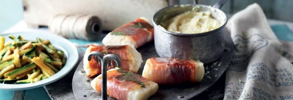 Cabillaud lardé et polenta