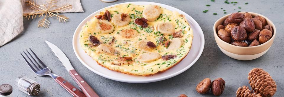 Omelette de boudin blanc et châtaigne