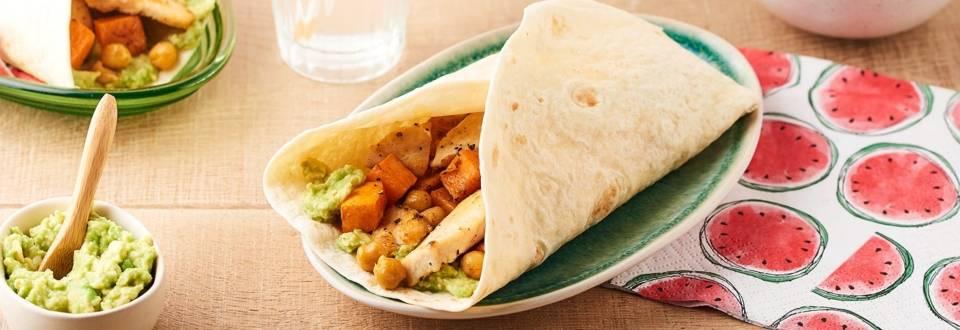 Burritos au poulet et patate douce