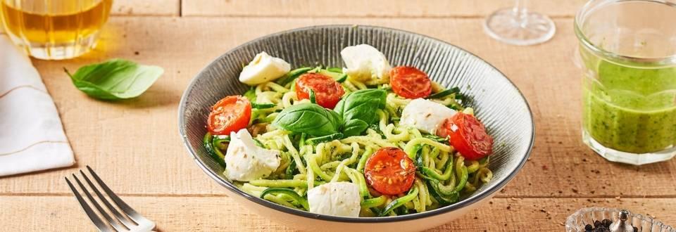 Spaghetti de courgettes au pesto