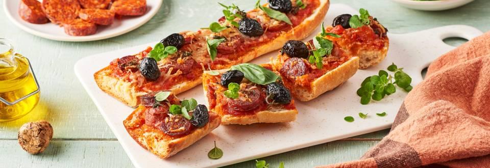 Baguette pizza au chorizo