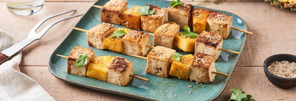 Brochettes d'ananas et tofu