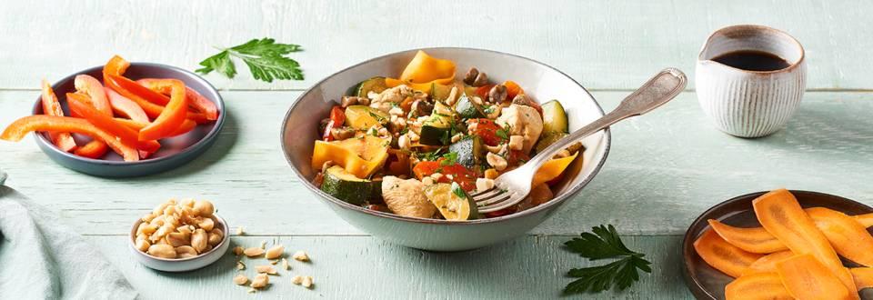 Wok de poulet aux légumes