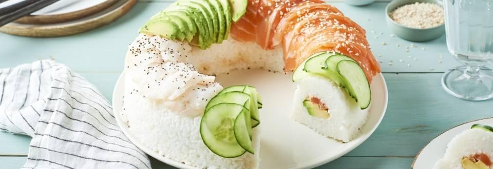 Donut sushi géant saumon et avocat