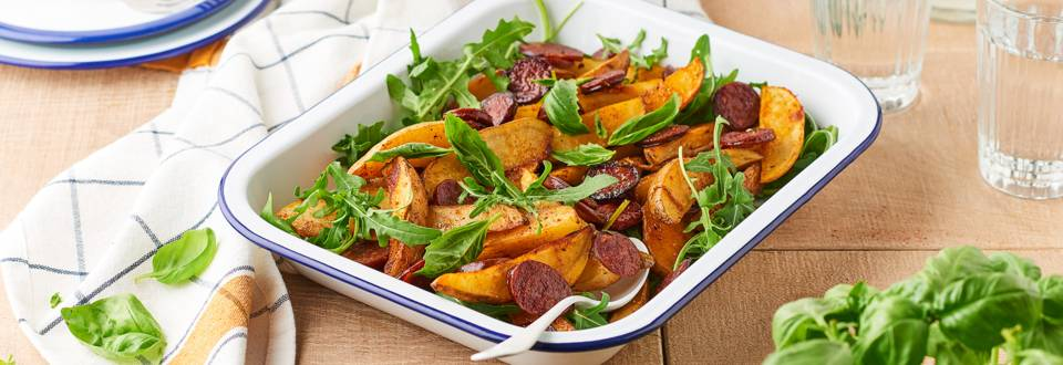 Chorizo grillé, potatoes et basilic