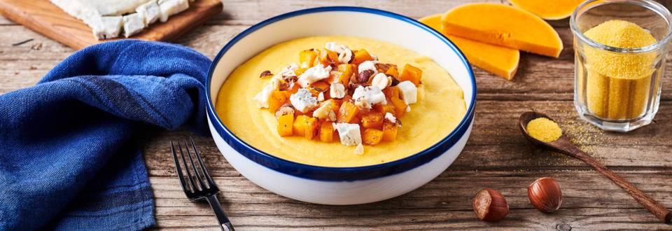 Polenta crémeuse aux quatre fromages et butternut rôti