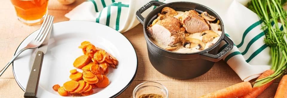 Filet mignon au cidre et carottes au cumin