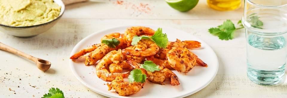 Crevettes épicées et crème avocat cilantro