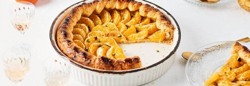 Tarte aux clémentines, amandes et éclats de pistaches