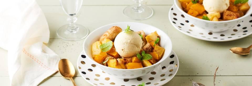 Fruits exotiques rôtis et glace vanille
