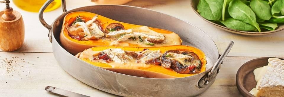 Courge butternut farcie au Brie et lard