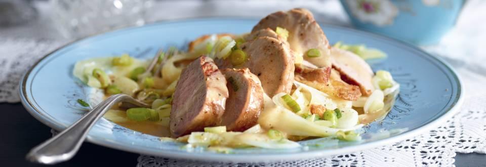 Filet de porc, sauce au fenouil et thé