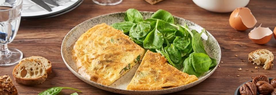 Omelette épinards, oignons, et châtaignes
