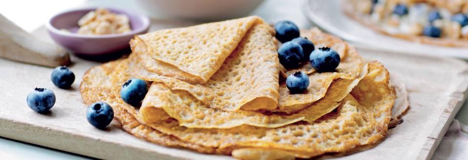 Crêpes au fromage blanc et myrtilles