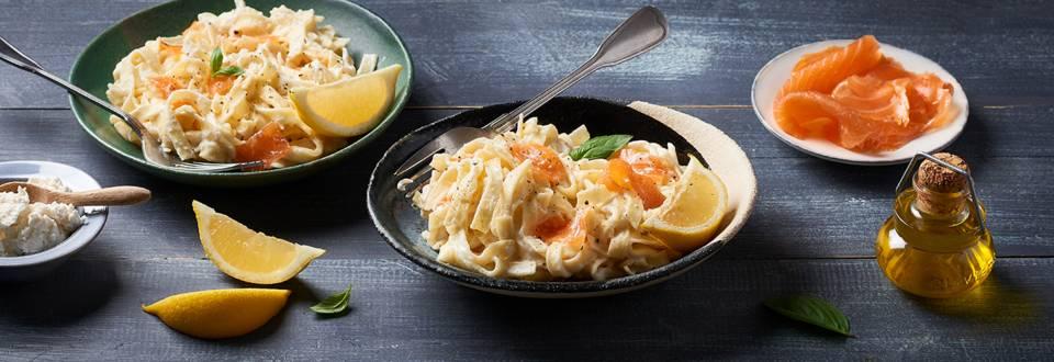Tagliatelles au citron, saumon et ricotta