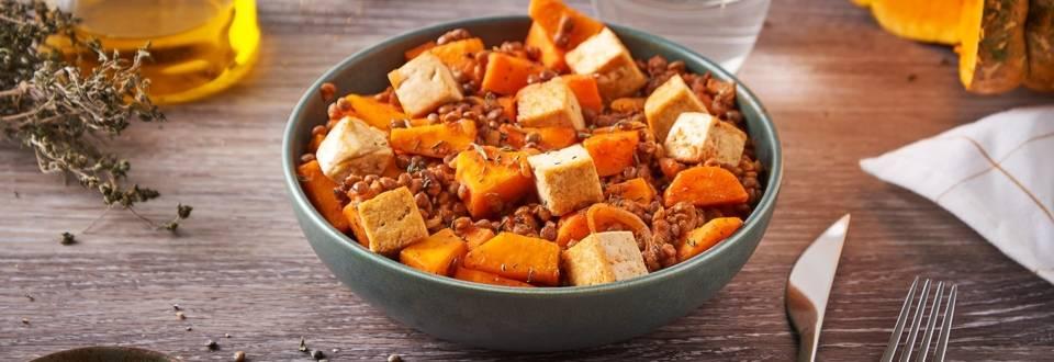 Poêlée de potimarron, lentilles et tofu