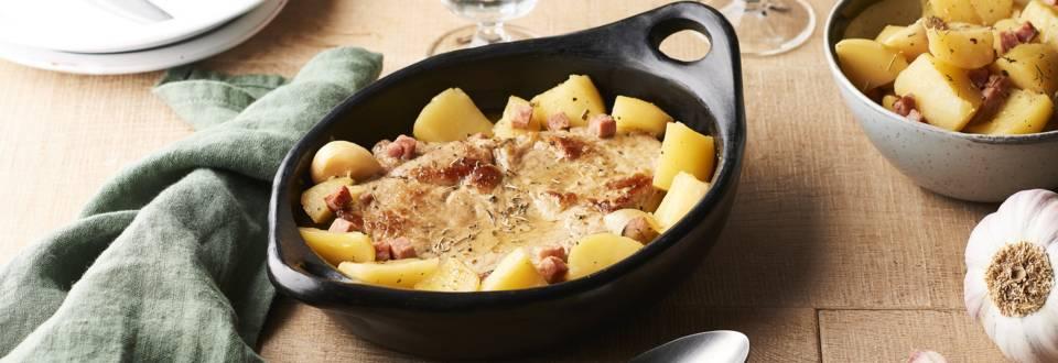 Quasi de veau laqué, pommes de terre et laurier
