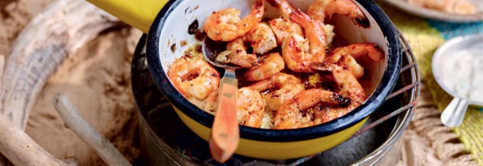 Sauté de crevettes, sauce à l'ail