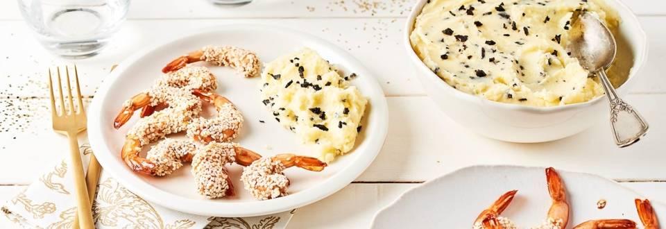 Gambas en croûte de sésame et purée de pommes de terre à la truffe
