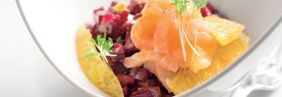 Salade de betteraves, saumon et orange