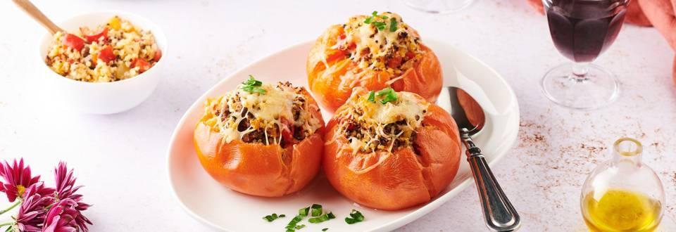 Tomates farcies au bœuf et quinoa