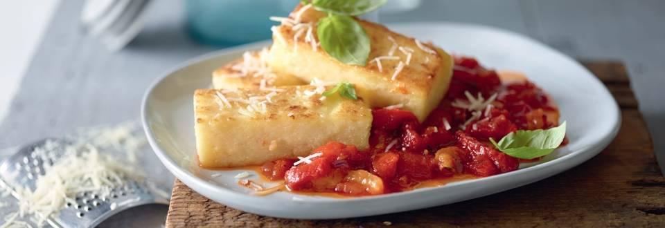 Polenta et sauce aux poivrons rôtis