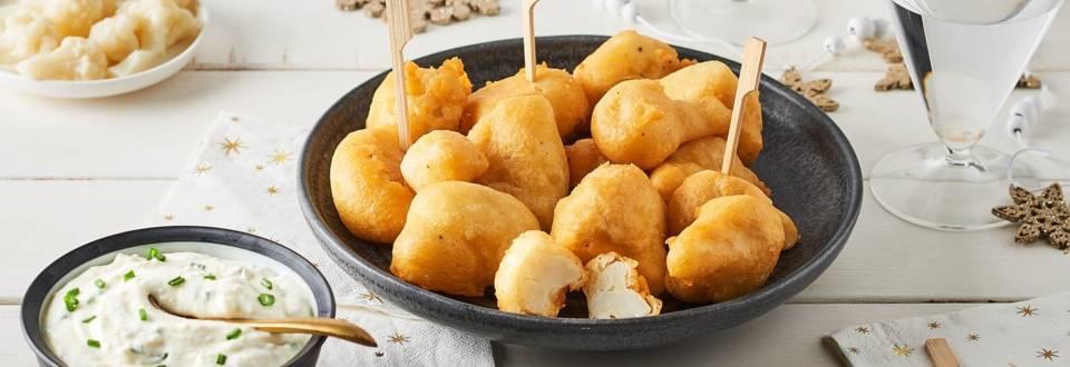 Beignets de chou-fleurs et sauce parmesan