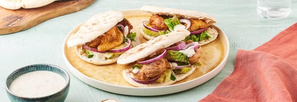 Shawarma de poulet et crudités