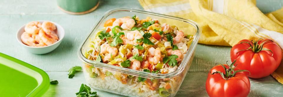 Wok de gambas, riz, curry et poireau