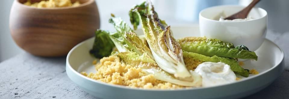 Couscous végétarien au safran et crème d'ail