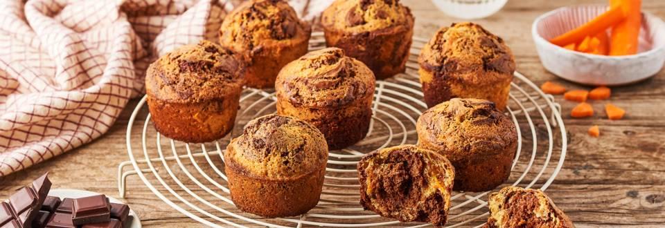 Muffins marbrés à la carotte