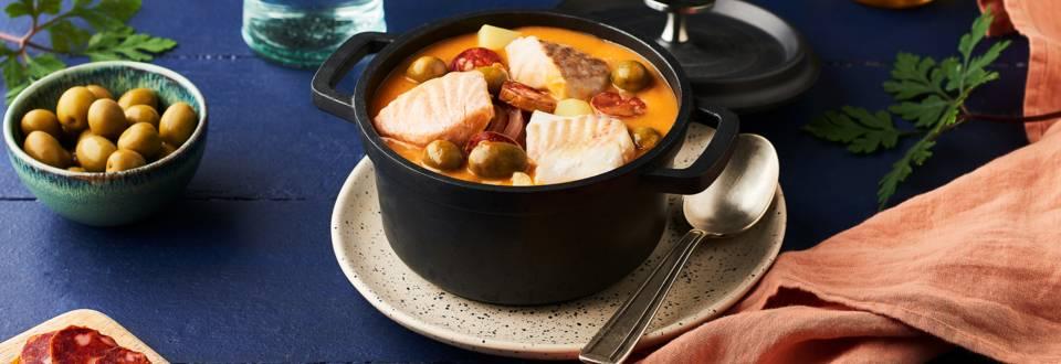 Cassolette de poisson à l'espagnole chorizo et olives
