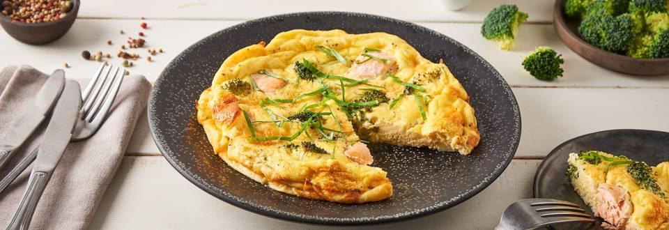 Quiche sans pâte saumon - brocolis