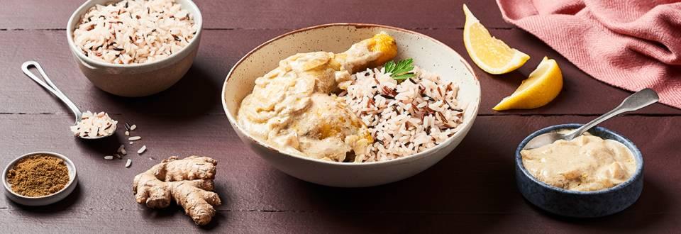 Poulet à l'indonésienne et riz trois couleurs