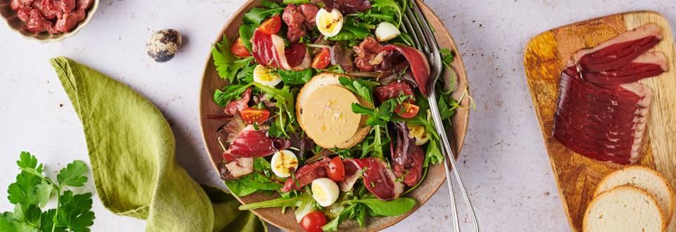 Salade gourmande au foie gras