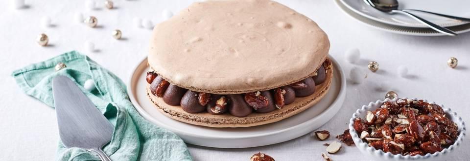 Macaron géant nougatine et chocolat