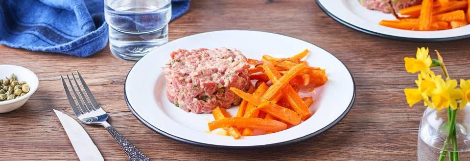Tartare de bœuf et frites de carottes