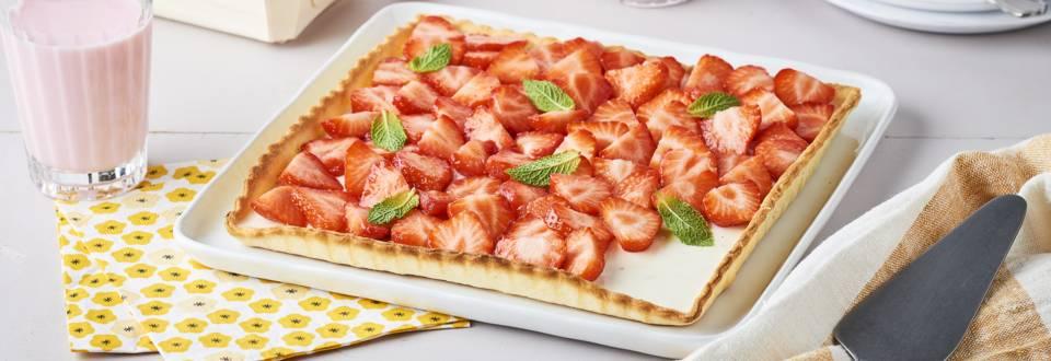 Tarte panna cotta fraises et menthe